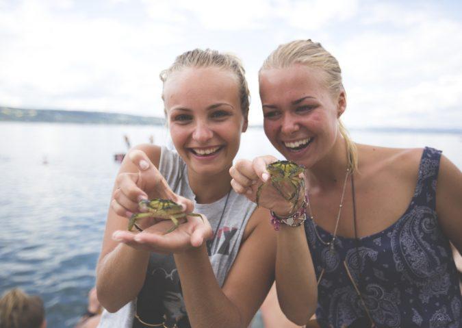 Bading og krabbefiske på Ingierstrand