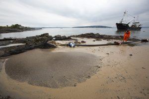 Påfyll av sand på Huk